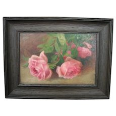Small Antique Oil on Board Still Life of Pink Roses