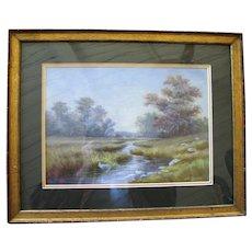 1910 Hugo Possner Watercolor Landscape