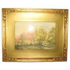 Signed Vintage Watercolor of a Summer Landscape