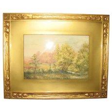 Signed Vintage Watercolor of a Summer Landscape