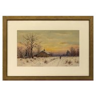 William Paskell Watercolor of Winter Sunset