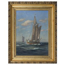 O/C Painting Gaff-Rigged Boat at Sea – C.M. Clark