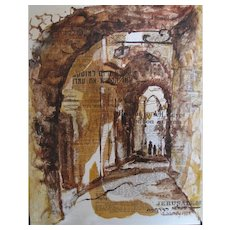 Mixed Media Collage on Canvas – Jerusalem