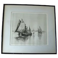 Albany E. Howarth Pencil Signed Etching – Venice - Red Tag Sale Item