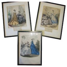 """3 Antique Framed """"La Mode Illustree"""" Prints Ca 1850"""