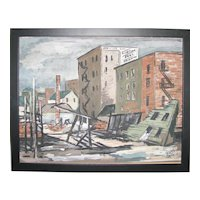 Joe Stegner – Gouache City Scene – 1934