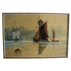 Antique Watercolor Painting of Fishing Boats – T. Gatiss