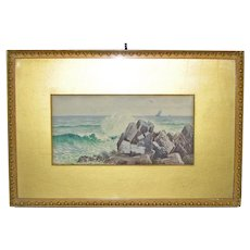 C.L. Thompson Watercolor of Crashing Surf and Sailboats