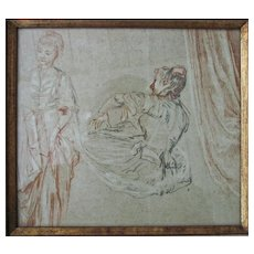 Vintage Framed Print of an Old Master Style Sketch