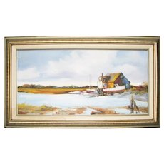 Vintage Oil on Board of Cape Cod Fishing Shack