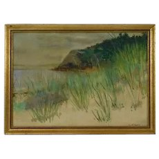Vintage GEER Impressionist Watercolor of Seascape