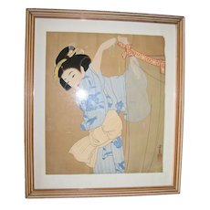 "Japanese Painting of ""Courtesan Hanging a Curtain"" – Kanzan Shimomura"