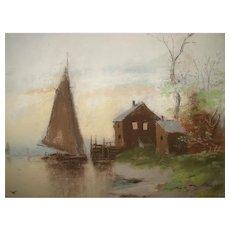 Victorian Chandler-Style Pastel Lake Scene