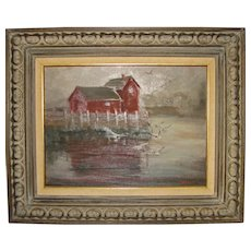 Vintage Painting of Motif #1 With Seagulls