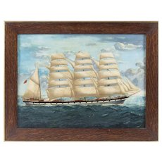 19th Century -  Full-Rigged Ship at Sea