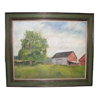 Antique Oil on Canvas of Connecticut Farm