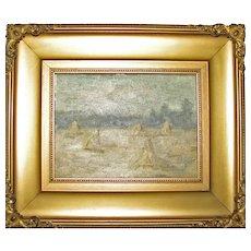 Small Antique Impressionist Oil of Haystacks