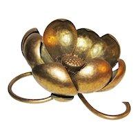 Gilt Metal Lotus Flower Sculpture - Mingazzi, Italy, 1950
