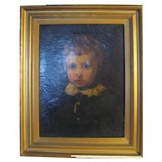 Antique O/C Portrait Of A Boy