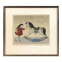 """Rocking Horse"" Vintage Etching on Paper"