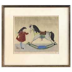 """Rocking Horse"" Vintage Etching on Paper"