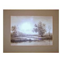 Alfred Ordway River Landscape Grisaille Drawing