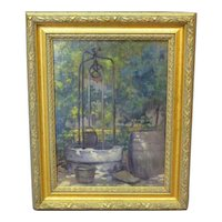 Vintage Oil on Board of an Old Well – Eric Pape