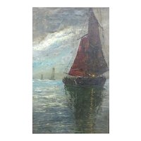 Oil Painting on Canvas of a Fishing Boat With Red Sail
