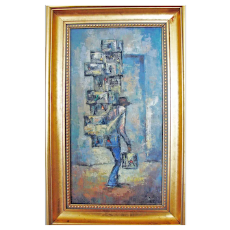 Proto-Cubist Abstract Painting - Signed Martin 1967