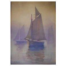John Cook (1870-1936)  Watercolor on Paper – Sailboats