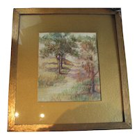 Antique Randall Watercolor on Paper - Woodland Scene