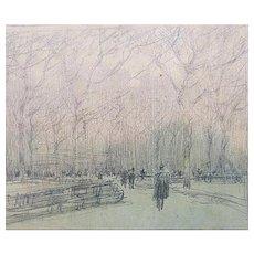 "Paul Cornoyer Pencil Sketch – ""Central Park"""