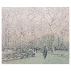 "Paul Cornoyer Pencil Sketch – ""Central Park"""