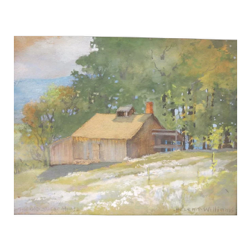"""The Old Sugar House"" Watercolor, Helen P. Williams"