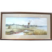 1889 Watercolor of Coastal Scene with Windmill – F. Baer