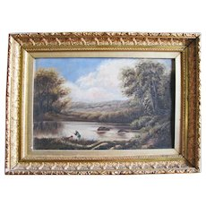 19th C. Oil Painting, River Scene with Fishermen