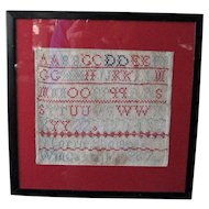 English Schoolgirl Sampler, Lorrie Plomer, 1887, Framed