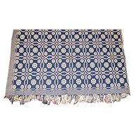 """Antique Blue & Ivory Geometric Two Panel Hand Loomed Coverlet – 78"""" x 78"""""""
