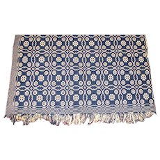 "Antique Blue & Ivory Geometric Two Panel Hand Loomed Coverlet – 78"" x 78"""