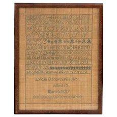 Sampler by Lydia Osborn Peasley, 1837, age 12