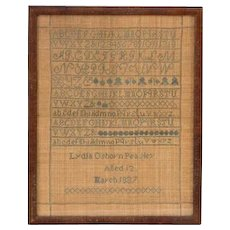 Sampler by Lydia Osborn Peasley, 1837, age 12