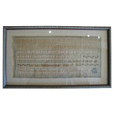 1827 Schoolgirl Sampler, Vashti Leach, Bridgewater, MA