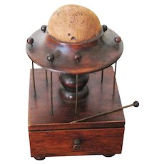 Antique Walnut Thread Stand With Pin Cushion Top