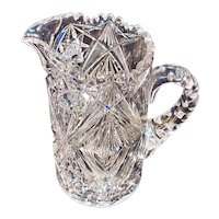 Diamond Optic Cut Pitcher, Probably Libbey or Hawkes