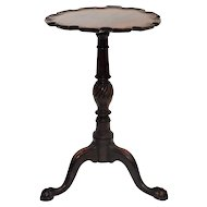 19C Chippendale Mahogany Pie Crust Candle Stand