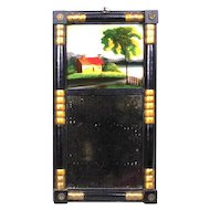 Antique 19th Sheraton Mirror with Reverse Painted Landscape