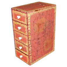 Antique Five Drawer Painted Table Top Chest
