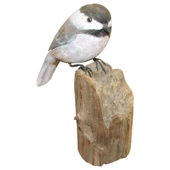 Carved & Painted Chickadee - Signed