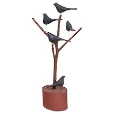 Vintage Carlton Folk Carving of Black Birds in a Tree