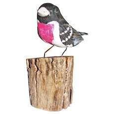 Carved & Painted Rose-Breasted Grosbeak